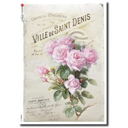 Large Pink Shabby Roses - Rice Paper