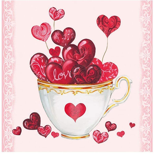 Cup Of Hearts - Decoupage Napkin