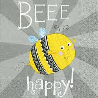 Bee Happy- Decoupage Napkin