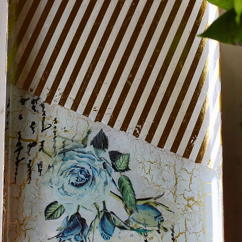 Reverse Decoupage - Rice Paper with Stencilling & Crackle Effect Video Tutorial