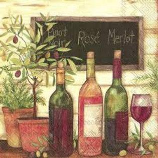 Wine and Olives - Decoupage Napkin