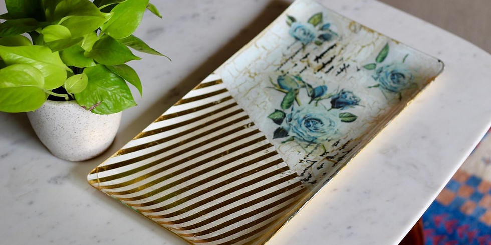 Reverse Decoupage With Crackle Effect,Stenciling and Rice Papers
