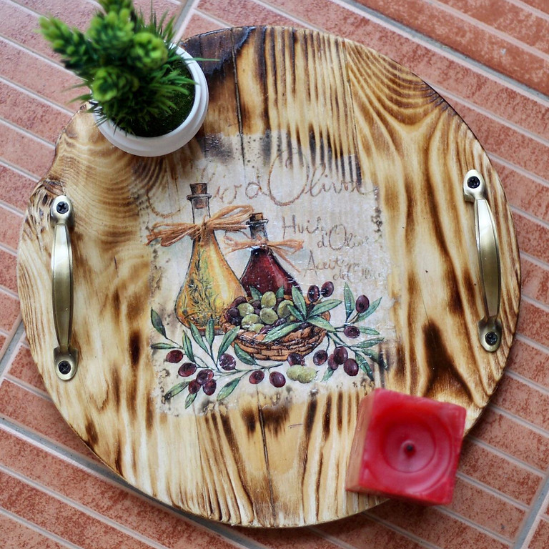 Decoupage With WoodBurning Technique  With Surya
