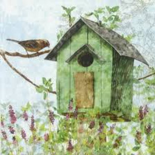 Green Bird House- Decoupage Napkin