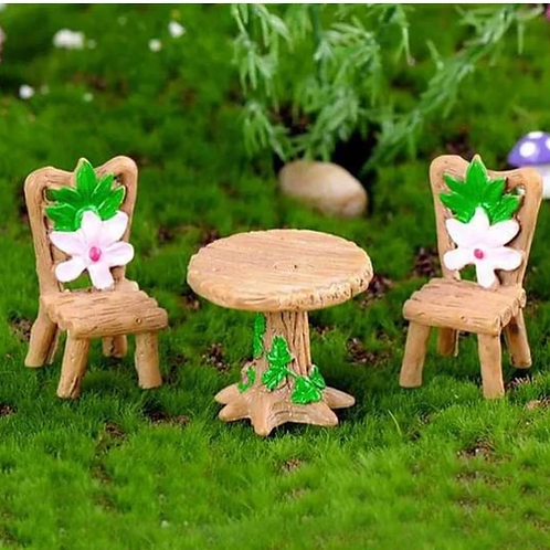 Set of A Table & Two Chairs- Resin Miniature