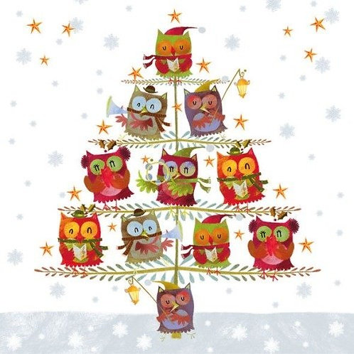 Christmas Tree With Owls - Decoupage Napkin