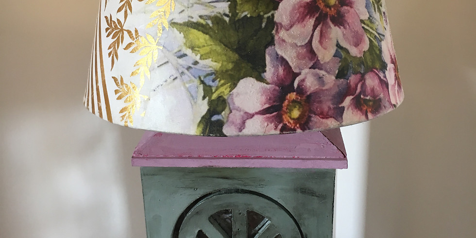 LampShade With Rice  Paper Decoupage & Distressed ,Crackled Effect