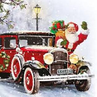 Santa Automobile- Decoupage Napkin