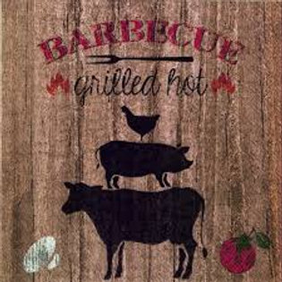 Barbeque Grilled Hot- Decoupage Napkin