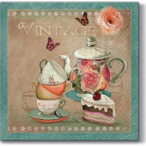 Vintage Tea Set - Decoupage Napkin