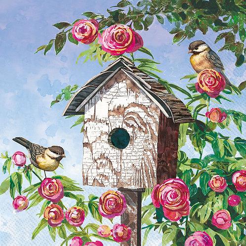 Lovely Birdhouse- Decoupage Napkin