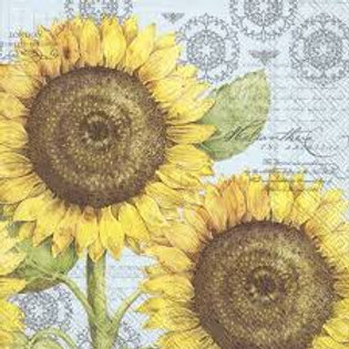 Botanical Sunflower Light Blue - Decoupage Napkin