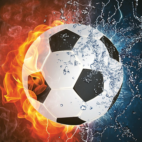 Football on Fire and Water - Decoupage Napkin