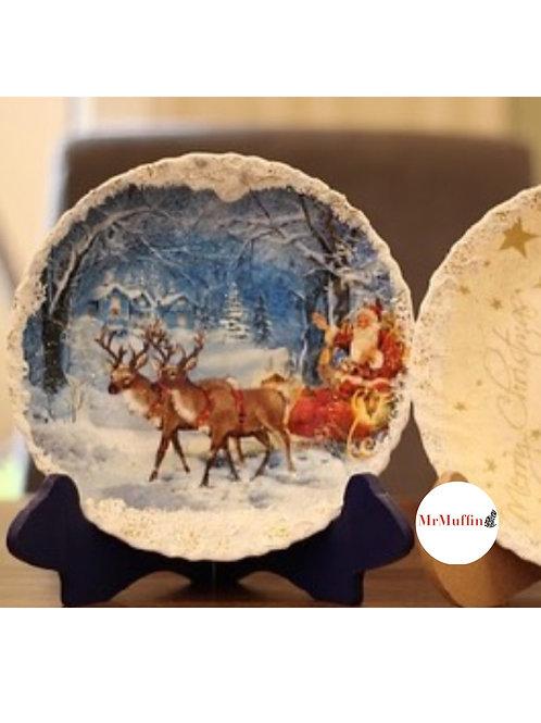 Santa Christmas Plate for Decor