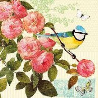 Birdie With Flower - Decoupage Napkin