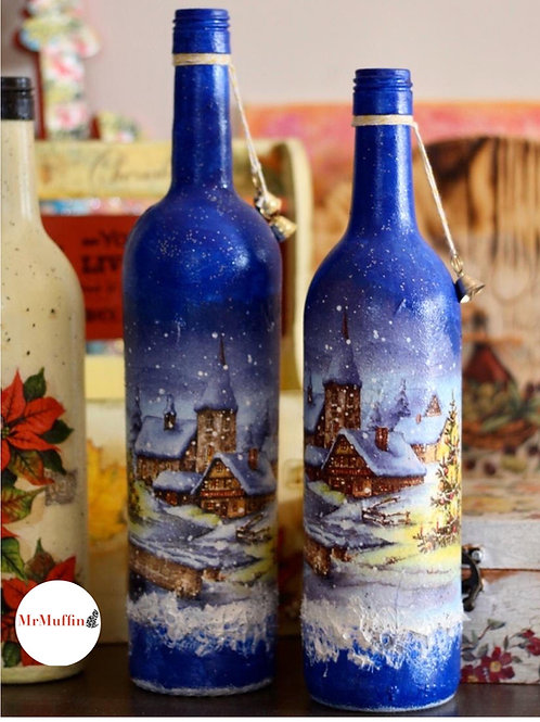 Blue Christmas Bottle