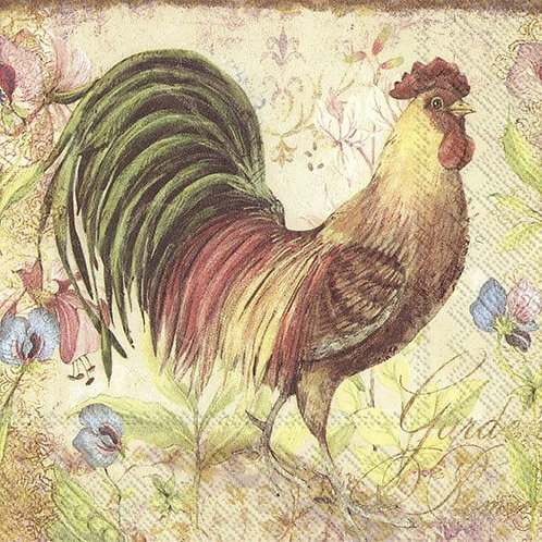 Proud Rooster- Decoupage Napkin