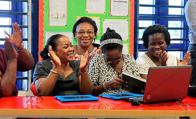 Teachers in Lagos cheering our trainer after LearnPad training