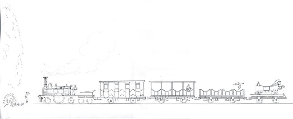 Первый поезд Русской железной дороги – паровоз «Лев», тендер, пассажирский вагон I класса, вагон II класса, вагон III класса (пассажирская платформа со скамьями), грузовая платформа с конной повозкой.