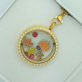 Gold locket with charms