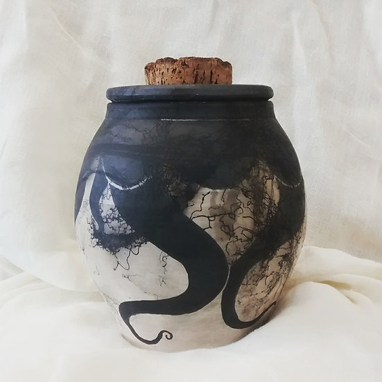Large (lidded) Raku vessel (#1)