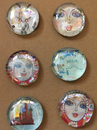 Russian Affair Glass Pebble Magnets