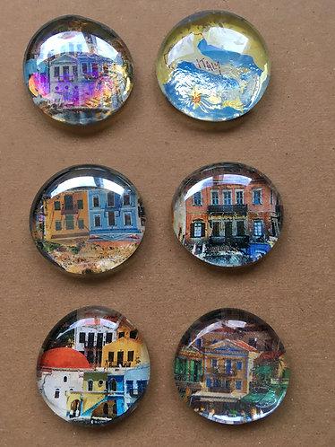 Mediterranean Adventure Glass Pebble Magnets