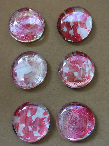 Pretty in Pink Glass Pebble Magnets