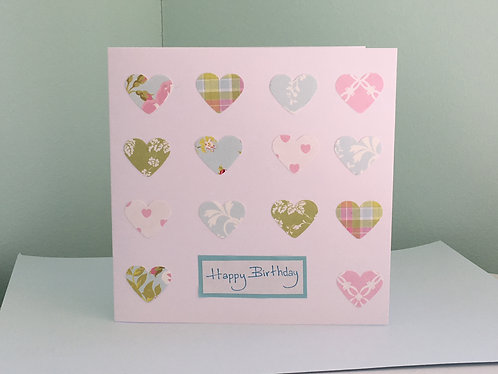 Vintage Hearts Birthday Card