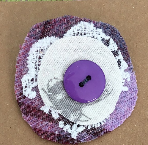 Fabric Brooch in Heather