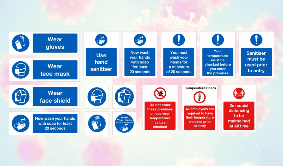Safety signs - available as a digital printed self adhesive vinyl graphics, foamex or dibond panels