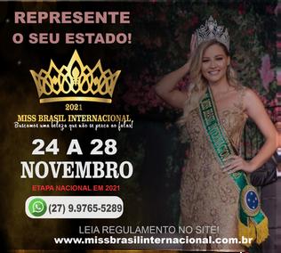 Miss Brasil Internacional, será exibido como reality show em novembro de 2021
