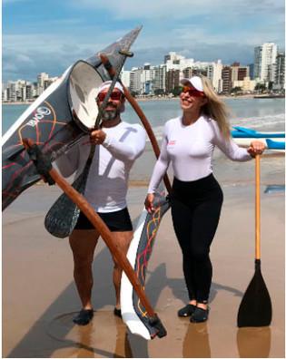Casal de Guarapari ES, participa da prova mais tradicional de Canoa Havaiana em São Paulo