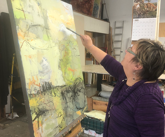Terry painting at her studio in Georgetown, Seattle