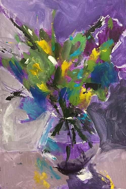 flower painting with purple background