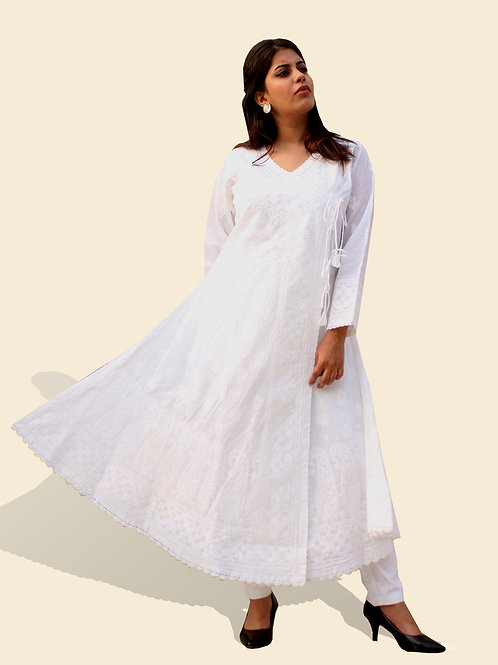 White Anarkali with work