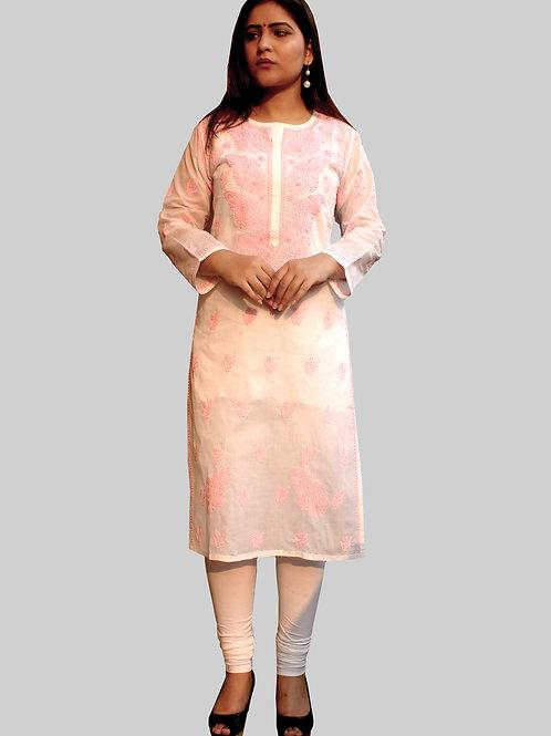 Long Cotton Chikankari Kurti