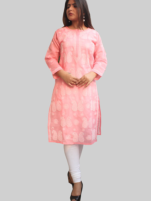 Long Cotton Chikankari Kurti