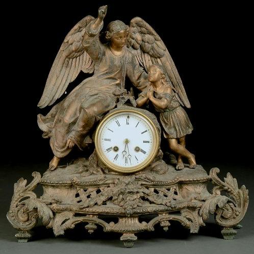 19thC splelter Mantle Clock.  Angel and infant