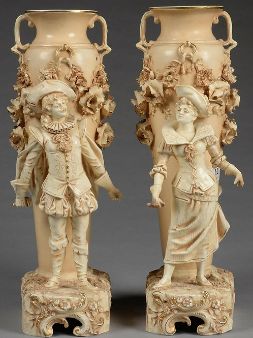 A MAGNIFICENT ANTIQUE PAIR OF AUSTRIAN OLD IVORY GROUND EARTHENWARE VASES, C1890