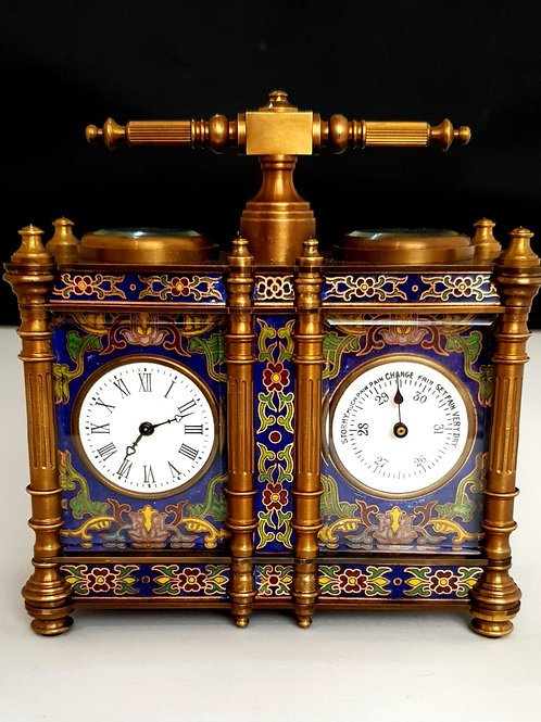 French Cloisonne carriage clock and barometer