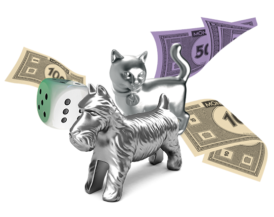 The Monopoly dog and cat stand next to a six-sided die and Monopoly money.
