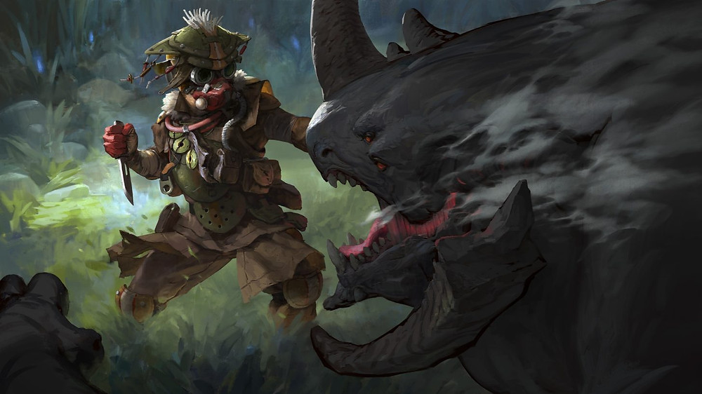 Bloodhound, dressed in tactical gear and holding a knife, is aggresively approaching a large monstrous animal.