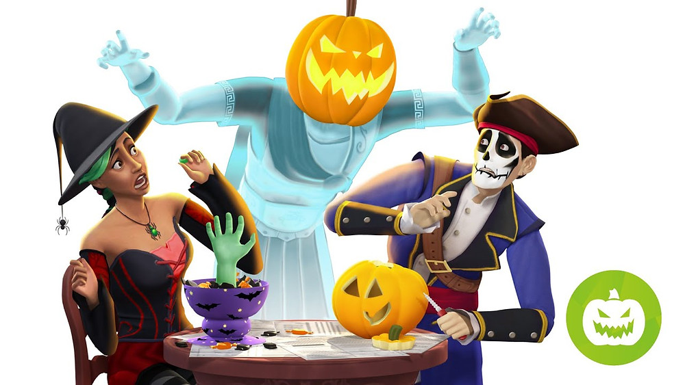 Two Sims in Halloween costumes are sitting at a table, carving a pumpkin. They are both cowering in fear from a ghost with a jack-o-lantern head that is raising its arms to spook them.