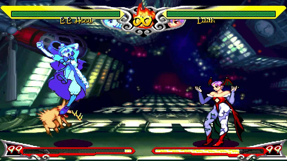 Two characters prepare for a classic battle. They stand on opposite sides of the screen. The background of their battle is a futuristic hallway with bright colors.