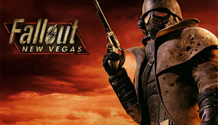 A character wearing a gas mask looks forward, holding a gun pointing toward the sky.