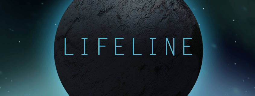 """A dark planet is in relief against some stars and galactic haze. Written across its dark surface is blue text that reads """"Lifeline."""""""