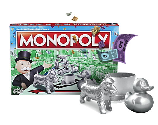 The Monopoly box stands, with the dog, hat, and duck tokens larger-than-life beside the box.  There is monopoly money falling from above.
