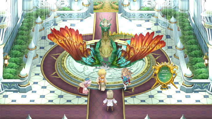 Four characters stand in front of a large green and red dragon.