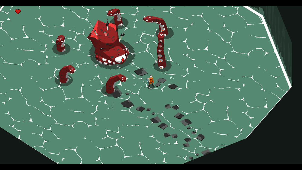 A giant octopus peers out of the water of a lake.  A character stands on a rock near the octopus, having walked across a trail of rocks to get to the middle of the water.